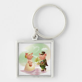 Male pig gives a bouqet of flowers to a female pig Silver-Colored square key ring