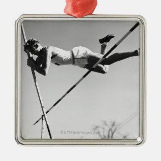 Male Pole Vaulter Silver-Colored Square Decoration