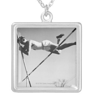 Male Pole Vaulter Silver Plated Necklace