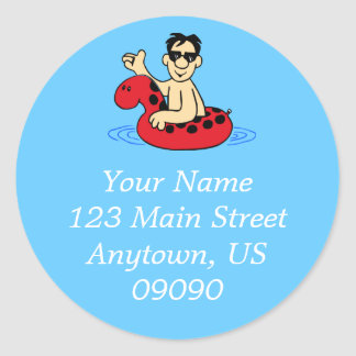 Male Pool Party Address Label (Red) Round Sticker