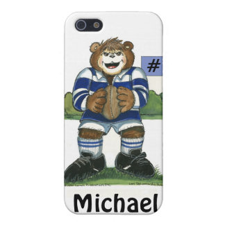 Male Rugby Bear in Blue Case For iPhone 5/5S