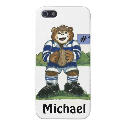 Male Rugby Bear in Blue iPhone 5 Cases