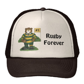 Male Rugby Bear in Green and Gold Cap