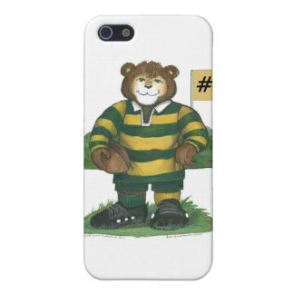 Male Rugby Bear in Green and Gold iPhone 5 Covers
