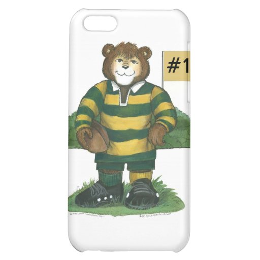 Male Rugby Bear in Green and Gold iPhone 5C Case