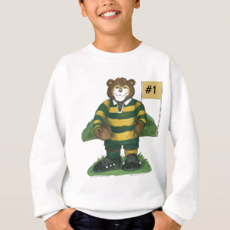 Male Rugby Bear in Green and Gold Sweatshirt