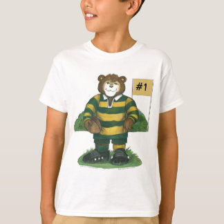 Male Rugby Bear in Green and Gold T-Shirt