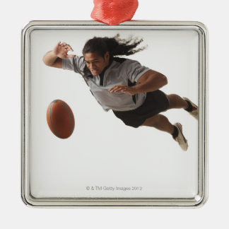 Male rugby player diving for ball christmas ornament
