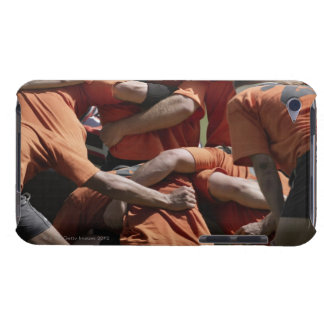 Male rugby players in scrum, rear view iPod touch cover