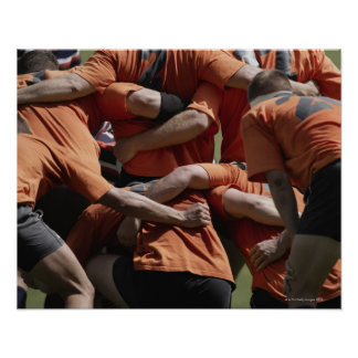 Male rugby players in scrum rear view poster