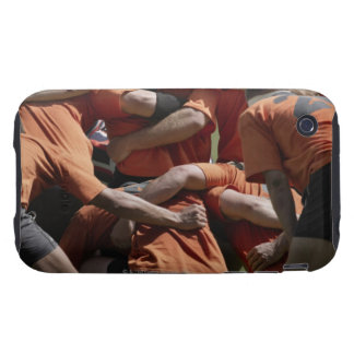 Male rugby players in scrum, rear view tough iPhone 3 cases