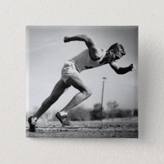 Male Runner 15 Cm Square Badge