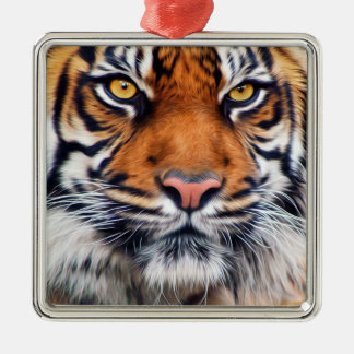 Male Siberian Tiger Paint Photograph Christmas Ornament