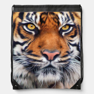 Male Siberian Tiger Paint Photograph Drawstring Bag