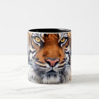 Male Siberian Tiger Paint Photograph Two-Tone Mug