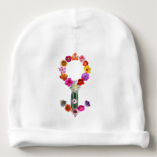 Male sign made of photographs of flowers baby beanie