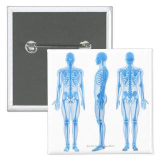 Male Skeleton 15 Cm Square Badge
