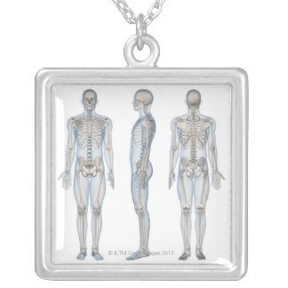 Male Skeleton 2 Silver Plated Necklace