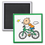 Male Stick Figure Bicyclist Tshirts and gifts Square Magnet