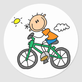 Male Stick Figure Bicyclist Tshirts and gifts Round Sticker