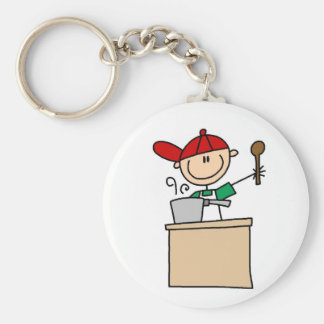 Male Stick Figure Cook T-shirts and Gifts Basic Round Button Key Ring