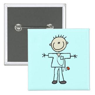Male Stick Figure Nurse 15 Cm Square Badge