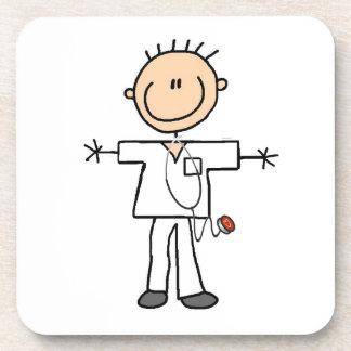 Male Stick Figure Nurse Beverage Coaster