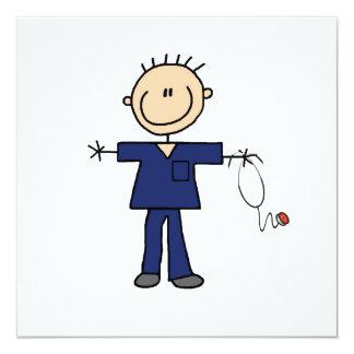 Male Stick Figure Nurse - Blue 13 Cm X 13 Cm Square Invitation Card