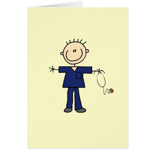 Male Stick Figure Nurse - Blue Card