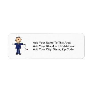 Male Stick Figure Nurse - Blue Return Address Label