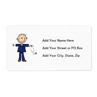 Male Stick Figure Nurse - Blue Shipping Label