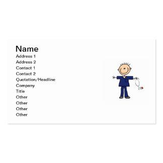 Male Stick Figure Nurse - Blue Pack Of Standard Business Cards
