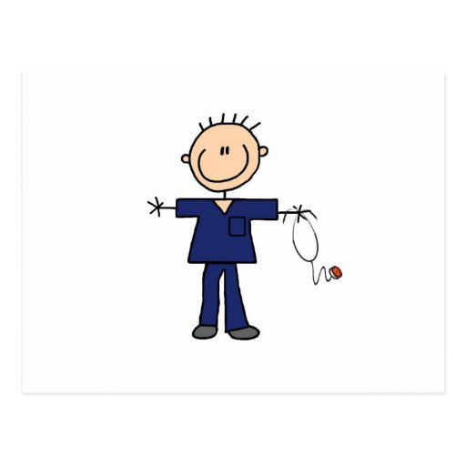 Male Stick Figure Nurse - Blue Postcard