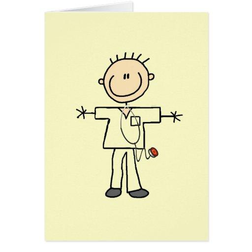 Male Stick Figure Nurse Greeting Cards
