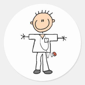 Male Stick Figure Nurse Classic Round Sticker