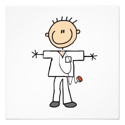 Male Stick Figure Nurse Custom Invites