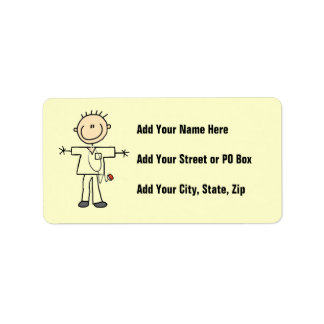 Male Stick Figure Nurse Address Label