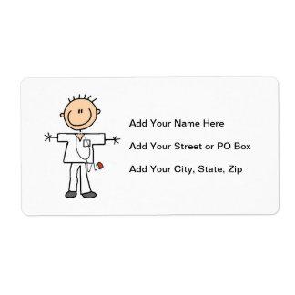 Male Stick Figure Nurse Shipping Label