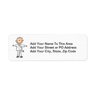 Male Stick Figure Nurse Return Address Label