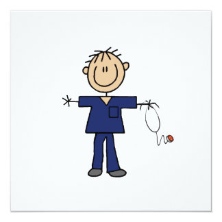 Male Stick Figure Nurse Medium Skin 13 Cm X 13 Cm Square Invitation Card