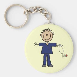 Male Stick Figure Nurse Medium Skin Basic Round Button Key Ring