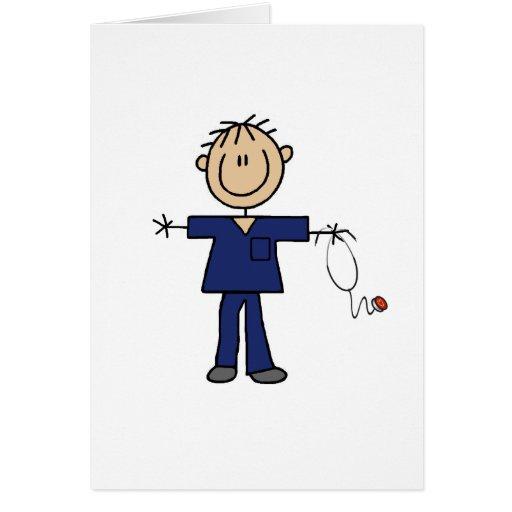 Male Stick Figure Nurse Medium Skin Greeting Card
