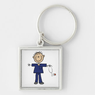 Male Stick Figure Nurse Medium Skin Key Ring
