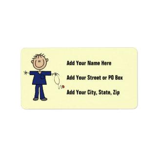 Male Stick Figure Nurse Medium Skin Address Label