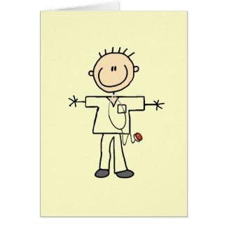 Male Stick Figure Nurse Note Card