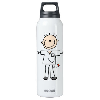 Male Stick Figure Nurse 16 Oz Insulated SIGG Thermos Water Bottle