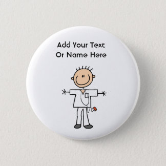 Male Stick Figure Nurse T-shirts and Gifts 6 Cm Round Badge
