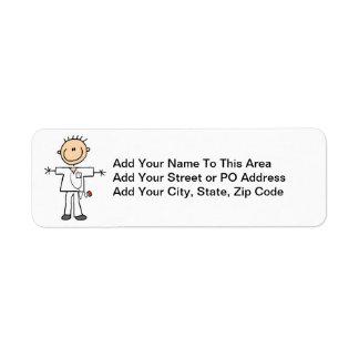 Male Stick Figure Nurse T-shirts and Gifts Return Address Label
