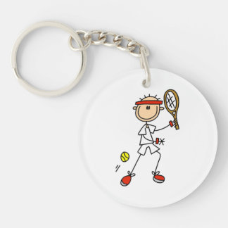 Male Stick Figure Tennis Player Single-Sided Round Acrylic Key Ring