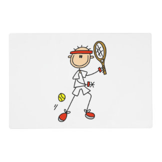 Male Stick Figure Tennis Player Laminated Placemat